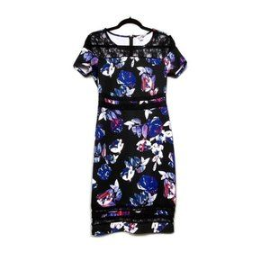 Belle & Sky Black Floral Short Sleeve Dr